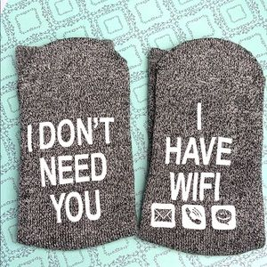 New sock gray I don't need you I have wifi